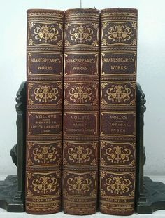 1901~SHAKESPEARE'S WORKS~Antique Leather 3 Book Lot~ Old Decor Set~HAMLET