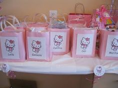 Making these Hello Kitty treat bags!