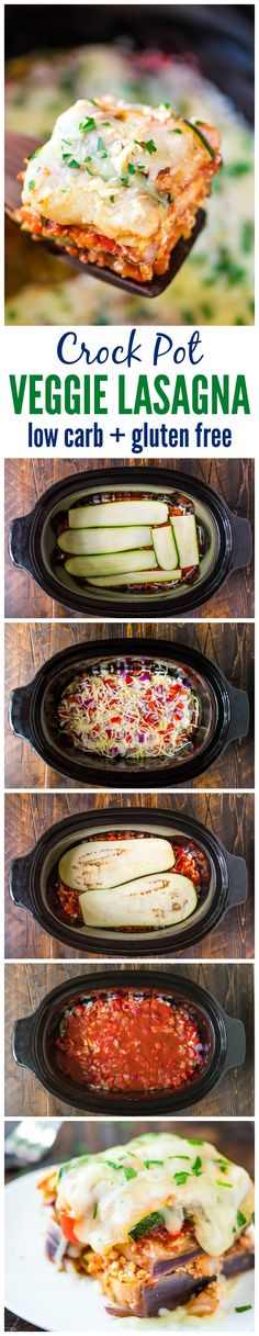 Delicious Crock Pot Low Carb Lasagna made with zucchini and eggplant instead of pasta — Less than 275 calories for a HUGE, cheesy serving! Healthy, gluten free, and your slow cooker does all the work. (Gluten Free Recipes For Dinner) Slow Cooker Recipes, Vegetarian Recipes, Cooking Recipes, Healthy Recipes, Dog Recipes, Recipies, Crockpot Meals, Potato Recipes, Hamburger Recipes