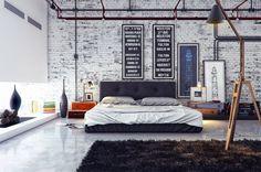 chambre style industriel avec mur en brique blanche, lampadaire, cheminée et tapis shaggy