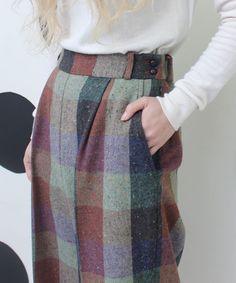 AMBIDEX Store Book Marketing] ○ NEP yarn block check Straight thick pants (F Green): Dot and Stripes CHILD WOMAN