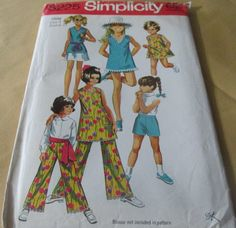 1960's Simplicity # 8225  Child's And Girls' Dress  Or Top, Skirt And Pants In Two Lengths  Size 4 Breast 23 Mod Retro Uncut by GwensHaberdashery on Etsy