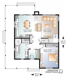 level Beautiful and small new modern cottage house plan, 3 to 4 bedrooms, open floor plan, affordable, fireplace - Hickory Lane 2 Country Style House Plans, Cottage House Plans, Small House Plans, House Floor Plans, Cottage Homes, Farm House, Tiny House Layout, House Layouts, Plan Chalet