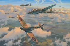 Decisive Blow, by Anthony Saunders (Spitfire Mk I, 92 Sqn. RAF vs Junkers Ju 88, KG77, Battle of Britain, September 27, 1940)