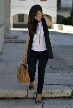 This outfit includes heels of Lolita Blu, Hermes's bags, t-shirts of Mango, jeans of the brand Zara, and vests of Mango Black Vest Outfit, Vest Outfits, Basic Outfits, Casual Outfits, Cute Outfits, Fashion Outfits, Womens Fashion, Casual Attire, Casual Dresses