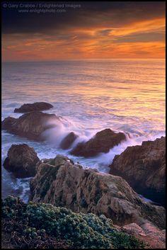 Waves breaking on coastal rocks at sunset Bodega Head Sonoma County California