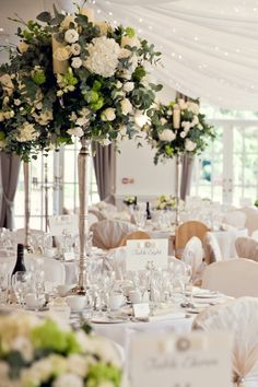 White Classic Hollywood Glamour Wedding Candelabra Flowers http://www.kerryannduffy.com/