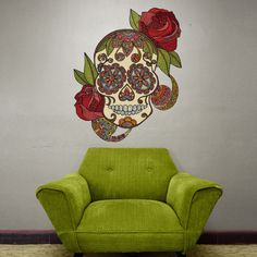 My Wonderful Walls Sugar Skull Day of The Dead Skull with Roses Wall Sticker Decal by Valentina Harper, Large, Multicolored Wall Stickers, Wall Decals, Wall Art, Sugar Skull Art, Sugar Skulls, Day Of The Dead Skull, Skulls And Roses, Love Wall, Red Roses