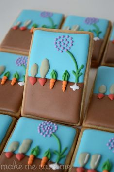 Spring Vegetable Garden Cookies Inspired by the Purl Bee | Make Me Cake Me