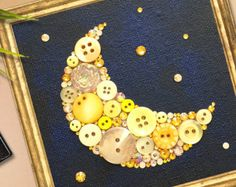 Saturn and Stars Button Art Astronomy Decor by PaintedWithButtons