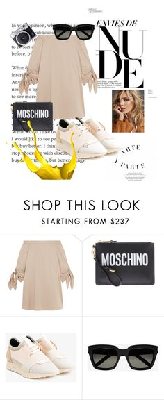 """""""NUDE & SNEAKERS"""" by yasminh18 ❤ liked on Polyvore featuring TIBI, Moschino, Balenciaga, Anja and Yves Saint Laurent"""