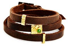 One Kings Lane - Bohemian Rhapsody - Jade and Leather Wrap Bracelet
