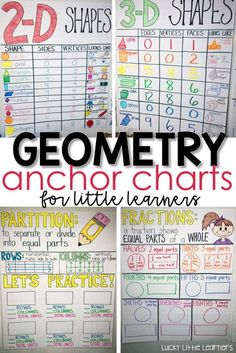 Activities for Teaching Geometry - Lucky Little Learners - Need some anchor chart inspiration? Here are some geometry anchor chart ideas for teaching shapes, shapes, fractions, and partitioning shapes. Working with Index charts and Topographical Charts Teaching Geometry, Teaching Math, Geometry Activities, Geometry Games, Math Activities, Geometry Lessons, Teaching Career, Teaching Time, English Activities