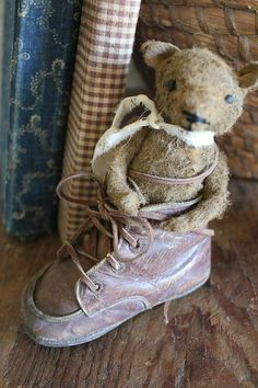 cinnamon creek dry goods | Bear in a Shoe   The sweetest tiny bear nestled in a vintage childs shoe !  5'' high        49.00 plus shipping....SOLD