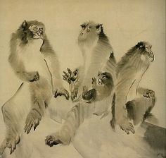 Detail. Rosetsu Nagasawa. Monkeys. Japanese painting. Edo period