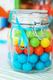 Gumball Party Favors | think I'm going to do this for putt-putt party, but with mason jars I can get at Publix