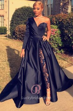 e751c858694 Cutting-edge Dark Navy Satin Sweetheart One Sleeve Thigh-high Slit Unique  Prom Dress