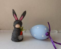 Easter Bunny Gnome / Hand stitched Wool Felt on wooden peg doll