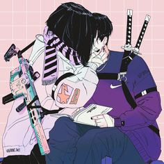 anime couple Art aesthetic Image about love in Cool by Florencia on We Heart It Anime Art Girl, Manga Art, Manga Anime, Art And Illustration, Aesthetic Art, Aesthetic Anime, Couple Aesthetic, Art Goth, Art Sketches