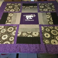 K State fans will love this! 60x60 throw, perfect for cuddling on the couch or to keep on your bed, in your room. This quilt has sold, but you can order one made similar to this one.  The quilt shown in the fourth picture is for sale- it is a baby quilt about 40x40  Have fun with that and create your own personal family quilt! These blankets can be made in various sizes- depending on how many tshirts you have. Some quilts are made with t shirts on both sides. I love to add special things…