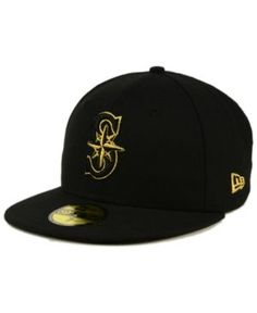 New Era Seattle Mariners Black On Metallic Gold 59FIFTY Fitted Cap - Black
