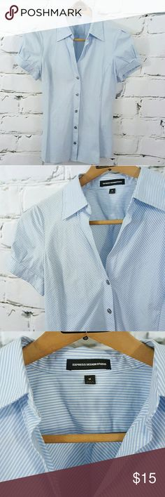 Exspress Design Studio Blue Stripped Buttondown EXPRESS DESIGN STUDIO STRIPE SHORT SLEEVE BUTTON DOWN  Blue and white thin striping throughout  Structured frame Size Medium  Cute cap sleeve detail with button closure  Beautiful condition, freshly dry cleaned, only one tiny spot below collar shown and last pic (you have to really look for it) Work, business, office, professional, Suit, blouse, top Express Tops Button Down Shirts