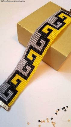 Bright yellow, grey and white bead loom bracelet. Adjustable lenght 17 cm – 20 cm Bright yellow, grey and white bead loom bracelet. Loom Bracelet Patterns, Bead Loom Bracelets, Bead Loom Patterns, Beaded Jewelry Patterns, Beading Patterns, Beading Ideas, Beading Supplies, Seed Bead Jewelry, Bead Jewellery