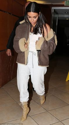 Keep it cool like Kim in a shearling coat by Yeezy #DailyMail Click 'Visit' to buy now