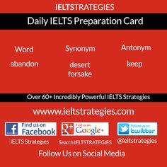 Free Daily #IELTS Exam Preparation Card   >>>>>>>> Follow Us <<<<<<<< http://www.ieltstrategies.com  https://www.facebook.com/pages/IELTS-Strategies/843554132329849 https://www.facebook.com/groups/600118753436854/ https://plus.google.com/+Ieltstrategiesieltspreparation/ https://twitter.com/ieltstrategies  http://www.pinterest.com/evangelineemeka/ielts-preparation/ http://ieltstrategies.tumblr.com/ <<<<<<<<<<<<>>>>>>>>>>>>>