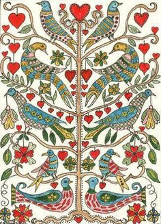 Folk Embroidery Patterns Pennsylvania Dutch Fraktur Tree of Life Impression Textile, German Folk, Balance Art, Buch Design, Madhubani Painting, Madhubani Art, Pennsylvania Dutch, Arte Popular, Maya Angelou