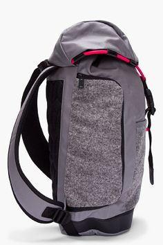 Timeiseverything Ent.  FASHION  Y-3 GREY COATED CANVAS BUNGEE BACKPACK 782cc1f004411