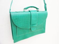 Leather Messenger Bag for Women Green Leather by NoussaBags, $59.00