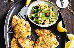 Senf-Schnitzel mit Kohlsprossen-Speck-Salat Biltong, Strip Steak, Beef Ribs, Pork Belly, Prosciutto, Tandoori Chicken, Bacon Jerky, Meatball, Steaks