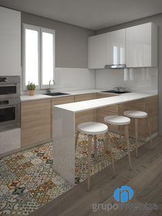La #reforma de #cocina tendrá unos acabados espectaculares. Será abierta al salón y dispondrá de un equipamiento completo. Además, se instalará pavimento hidráulico. #reformas #interiorismo #3D #Barcelona