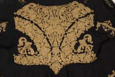 Detail of terzidikos (gold tailored) embroidery at the back - Doulamas , women's, sleeved, festive overcoat decorated with terzidikos (gold tailored) embroidery, Kozani Macedonia, Northern Greece