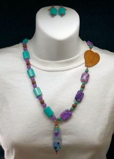 One Heart copper and lampwork gemstone beaded by thepinkmartini, $65.00