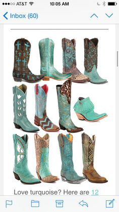 12 Pairs of Turquoise Cowboy Boots – Horses & Heels 12 Pairs of Turquoise Cowboy Boots 12 Pairs of Turquoise Cowboy Boots Cowboy Boots Women, Cowgirl Boots, Western Boots, Snow Boots, Ugg Boots, Ankle Boots, Turquoise Cowboy Boots, Bota Country, Look Jean
