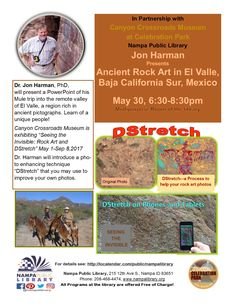 """Dr. Jon Harman will be presenting on ancient rock art """"pictographs"""" or """"petroglyphs"""" from a mule trip to the remote El Valle in the rugged Sierra de Guadalupe in Baja California Sur."""