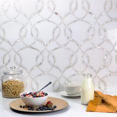 MJ CORDELIA - WHITE THASSOS & MOTHER OF PEARL Finish: Polished Material: Marble & Pearl  #motherofpearl #white #loops #design #shells #artsy #patterns #walls #interiorwalls #walldesigns #interiordesign #interiors #wallideas #walltiles #mosaictiles #tiles #mosaics #cordelia #whitewalls #whiteinteriors #mosaicwalls  #30daysofmosaics #sohostudiocorp #richmondtileandbath