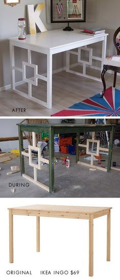 Do It Yourself Solar Electricity For Your House Diy - Ikea Hack Ikea Ingo Dining Table Desk Makeover. Full Step-By-Step Tutorial. Desk Makeover, Furniture Makeover, Diy Furniture Transformation Ideas, Furniture Projects, Home Projects, Ikea Furniture, Deco Furniture, Furniture Vintage, Furniture Design