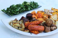 Roast vegetables with fresh herbs and sauteed spinach with garlic