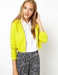 ASOS Cropped Hoodie $33.30  cropped is the way to go crop errthang crop basics i like that lime