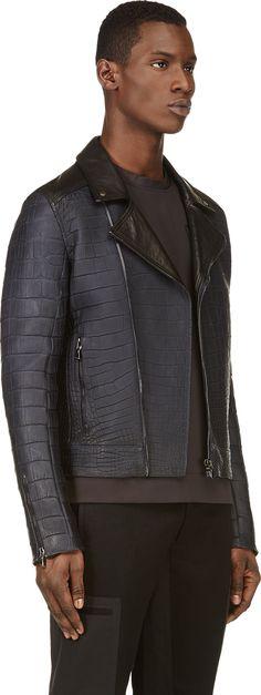 Calvin Klein Collection: SSENSE Exclusive Navy Alligator Biker Jacket