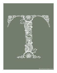 Lydia Lark Henna Alphabet Letter T Natural