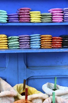 All the colors of the rainbow can be found while walking through the markets of Morocco. Rainbow Colors, All The Colors, Morocco, Family Travel, Walking, Home Decor, Family Trips, Rainbow Colours, Interior Design