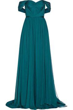 MARCHESA Off-the-shoulder silk-chiffon gown