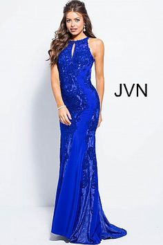 76b01e48786 Royal Embellished High Key Hole Neck Fitted Prom Dress JVN55869