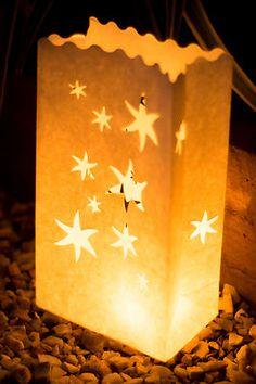 10 x White Falling Stars Candle Paper Bag Lantern Wedding Engagement Decoration Paper Bag Lanterns, Star Lanterns, Engagement Decorations, Wedding Decorations, Star Wedding, Dream Wedding, Candle Bags, Lantern Craft, Star Candle