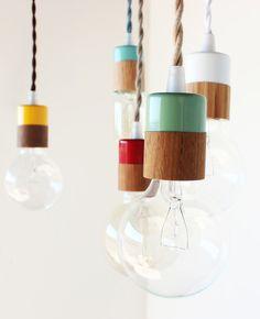 Love this simple lamps and colors ... Verlichting van Onefortythree - vtwonen ...boven werkblad jongens