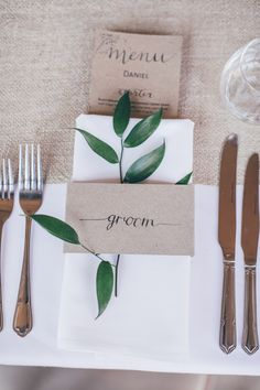 Place Name Setting Kraft Brown Paper Place Name Calligraphy Natural Earthy Greenery Home Made Wedding http://rachellambertphotography.co.uk/